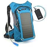 ECEEN Trinkrucksack mit 1.8L Blase-Tasche und 7Watt Solarmodul, Aufladen von Handys, Tablets, Bluetooth-Lautsprechern und anderen 5V Geräten, mit 10.000mAh Power Bank