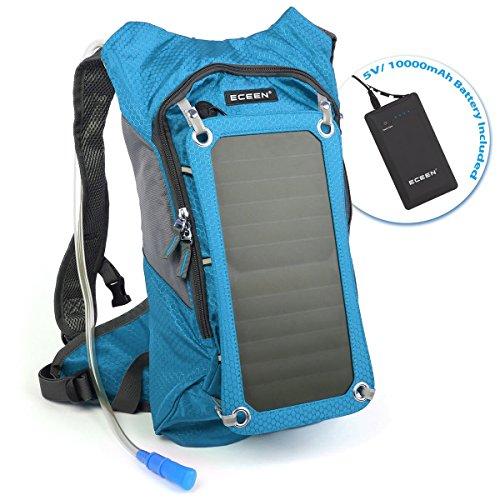 Eceen Trinkrucksack mit 1.8L Blase-Tasche und 7Watt Solarmodul, Aufladen von Handys, Tablets, Bluetooth-Lautsprechern und anderen 5V Geräten, mit 10.000mAh Power Bank (Camel Bank)
