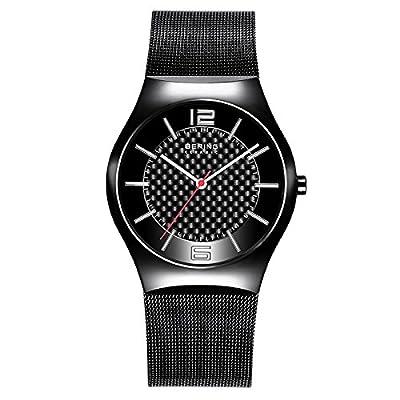 Bering Ceramic - Reloj analógico de caballero de cuarzo con correa de acero inoxidable negra - sumergible a 30 metros de BERING