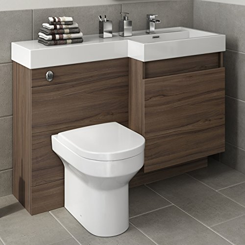 1200 mm modern walnut bathroom drawer vanity unit basin for Rak kitchen set