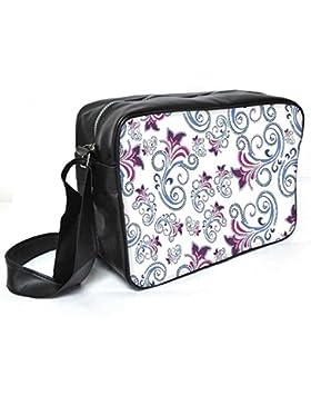 Snoogg Abstraktes weiß Muster Leder Unisex Messenger Bag für College Schule täglichen Gebrauch Tasche Material PU