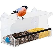 Mangiatoia per uccelli selvatici finestra con vassoio rimovibile, fori di scarico e 4 ventose Grande Trasparente balcone da esterno