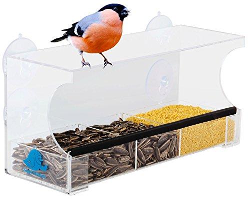 fenster vogelhaus Happy Piepmatz Vogelhaus Vogelfutterhaus fürs Fenster Balkon mit Saugnapf Vogelbeobachtung Vogelhäuschen Vogelfutterspender Vogelfutterstation für Vogelfutter und Wasser geeignet Vogeltränke