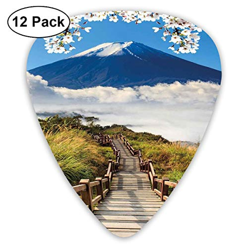 Guitar Picks12pcs Plectrum (0.46mm-0.96mm), Cloudy Mountain Valley Road Spring Paradise Inspirational Peaceful High Tops Scenery,For Your Guitar or Ukulele - Paradise Box-spring