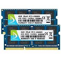 DUOMEIQI 8GB Kit (2 X 4GB) 2RX8 PC3-10600 PC3-10600S DDR3 1333MHz SO-DIMM CL9 204 Pin 1. 5v Non-ECC Unbuffered ذاكرة حاسوب محمول RAM لـ Intel AMD وMac