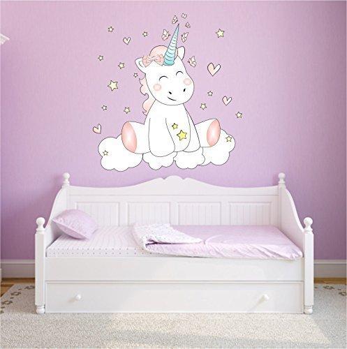 Mein Zwergenland Wandtattoo Wandsticker Aufkleber Wall Tattoo Kinderzimmer Schlafzimmer Unicorn Einhorn cutie mit 6 Leuchtsternen 100 cm x 78 cm