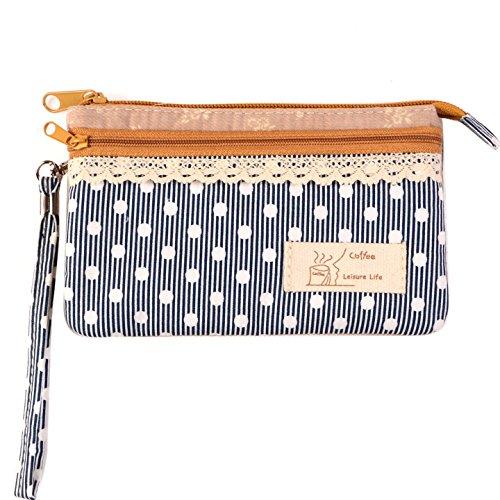KISS GOLD (TM) Mini Handytasche Geldbeutel mit Polka Dots für Damen und Mädchen Blau (Damen Clutch Handtasche Portemonnaies)