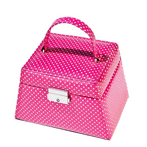 ZXKS Boîte à Bijoux Cadeau Multi-Fonctions rétro en Cuir trapézoïdal de Bijoux Sac de Rangement de Bijoux Portable Cadeau de Vacances,Pink
