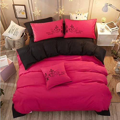 SHJIA Einfache Geometrische Patter Einfarbige Bettwäsche Bettdecke Winter König Tröster Set Bettbezug Bettwäsche Rot 180x220 cm -
