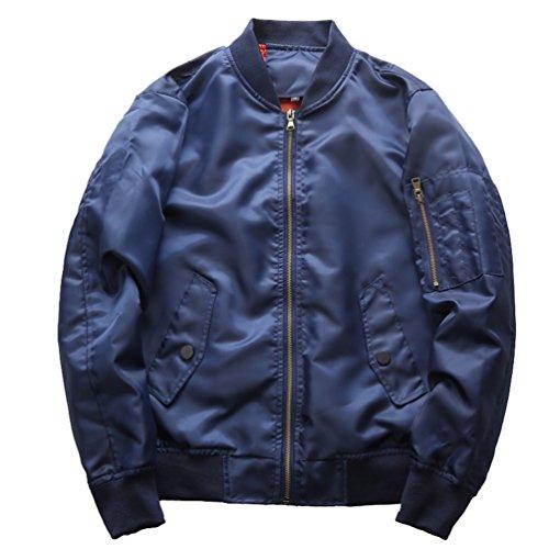 Yuandian uomo autunno primavera casual taglie forti bomber stile militare bomber giubbino ma1 aviatore stand collare zip elastici polsini e hem blouson giacca cappotti blu 6xl