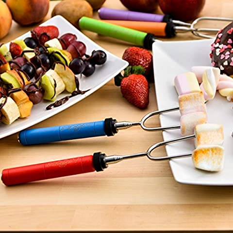 TankerStreet Marshmallow Roasting Sticks Stainless Steel Colorful-Handled Cookware Barbeque BBQ Skewers Hot Dog Fork Backyard Fire Pit Camping Bonfire Outdoor Grilling Set