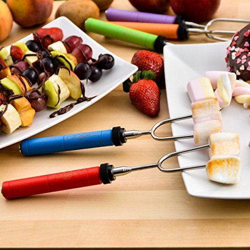 Tankerstreet marshmallow Torrefazione bastoni in acciaio INOX colorful-handled pentole barbecue barbecue Hot Dog forcella Backyard braciere da campeggio Bonfire Outdoor Grilling set