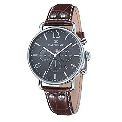 Thomas Earnshaw ES-8001-04 - Reloj cronógrafo para hombre con esfera analógica de color antracita y correa de cuero negra de Thomas Earnshaw