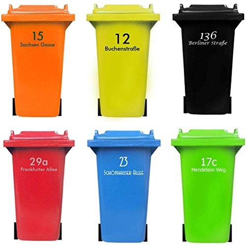 Personalisierter MÜLLTONNENAUFKLEBER mit HAUSNUMMER und STRAßENNAMEN | senden Sie uns Ihre Vorgaben, wir fertigen Ihren individuelle Mülltonnen Sticker, wetterfest, UV-beständig Einzigartige Mülltonne