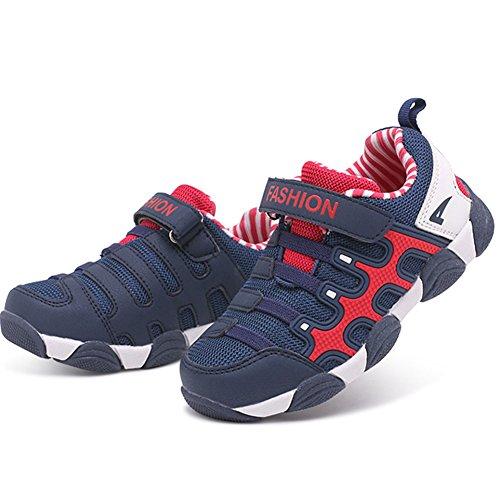 SaiDeng Garçons Casual Respirant Et Durable Engrener Baskets De Plein Air Running Chaussures Bleu foncé Rouge