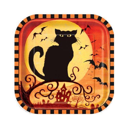 (10 Pappteller Spooky Hollow 18cm - Halloween Tischdeko Partydeko Geschirr Katze)
