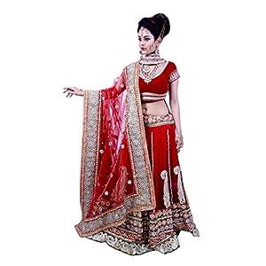 Sagar Enterprises Women's Embroidered Taffeta Silk Semi Stitched Lehenga Choli (Free Size)