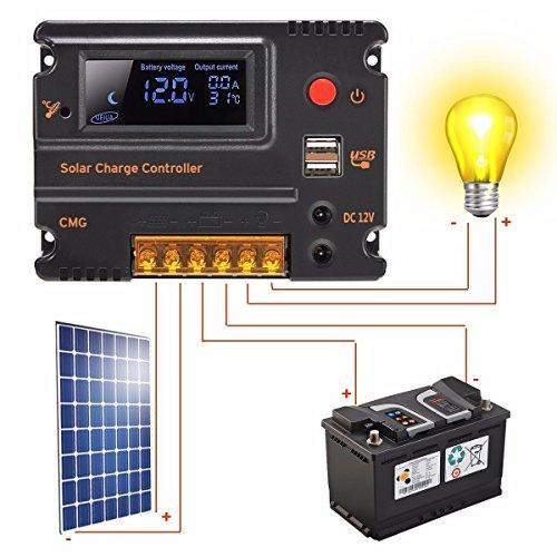 MOHOO 20A 12V-24V Solar Panel Regler Laderegler Intelligente Heim Verwenden PWM & WPC-Modus LCD Display Solarladeregler Mit USB Geeignet für Haus, Industrie, Gewerbe, Boot, Auto usw.# - 7