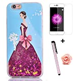 iPhone 6s Glitter Case,iPhone 6 Case for Girl,Tebeyy iPhone 6/6s 3D Creative Pretty Bride Wedding Dress [Liquid Glitter] Flowing Floating Bling Quicksand Hard Protective Case Cover with Sparkle Stars+Free Screen Protector+Free Flower Dust Plug+Free Stylus-Sky Blue