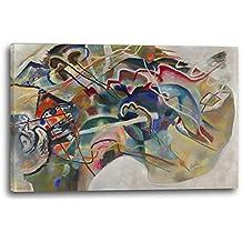 Wassily Kandinsky - Cuadro con borde blanco (1913), 120x80 cm, Impresión de la lona enmarcada en el marco de madera genuino y listo para colgar, impresión de la alta calidad hecha en Alemania.