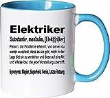 Mister Merchandise Kaffeebecher Tasse Elektriker Definition Geschenk Gag Job Beruf Arbeit Witzig Spruch Teetasse Becher Weiß-Hellblau
