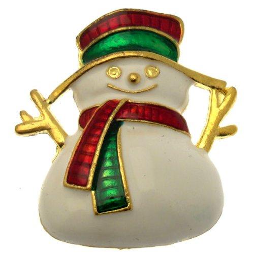 Acosta Brooches, colore: Bianco smalto Festive-Jack Frost-Spilla a forma di pupazzo di neve, colore: Oro, tonalità) Christmas Jewellery Idea regalo