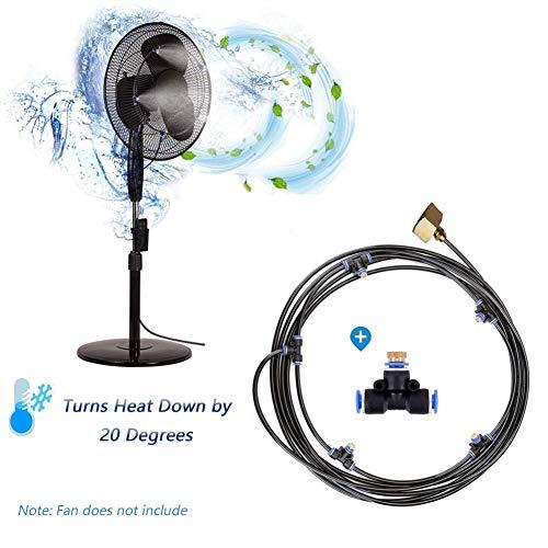 Kit di nebulizzazione all'aperto Refreshing Kit Nebulizzatore Ad Acqua per Ventilatore Sistema di irrigazione sistema di atomizzazione, si collega a qualsiasi ventilatore esterno, 16.4FT (5M)