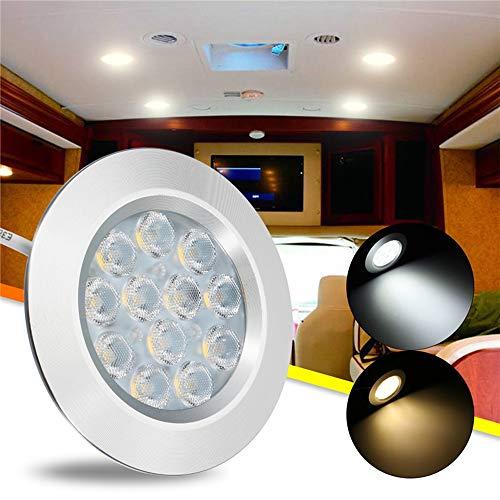 DADEQISH DC12V 3W 12 LED Spot Schrank Licht Innenleuchte für Transporter Van Boot Auto RV Innenlicht (Color : Warm White) (Rv-lichter Led 12)