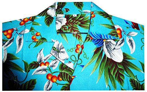 Original King Kameha   Funky Hawaiihemd   Herren   XS - XXL   Kurzarm   Front-Tasche   Hawaii-Print   Kirschblüten Papagei Blätter   Türkis Türkis