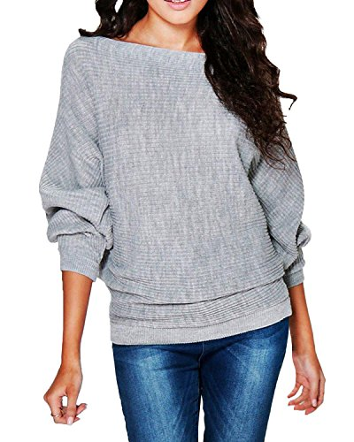 StyleDome Women's Knit Casual Batwing Long Sleeve Loose Knitwear Pullover Sweater Jumper Ribbed Tops