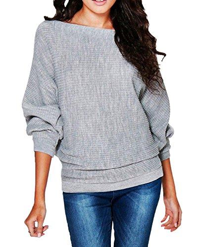 StyleDome Maglia Donna Maglietta Manica Lunga Loose Casual Elegante Ufficio T-shirt Top Basic Grigio
