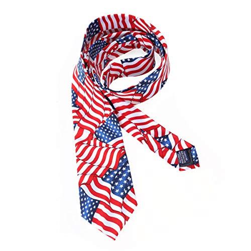 Amosfun Amerikanische Flagge Männer Krawatte Independence Day Krawatte für Männer 4. Juli Krawatte Kostüm Zubehör 8CM -