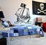 Bateau Pirate Sticker Mural Enfants Garçons Adolescent Chambre Chambre Décor Drapeau Motif de Bande Dessinée Vinyle Autocollant Mural Personnalisé Mural 57x66 cm