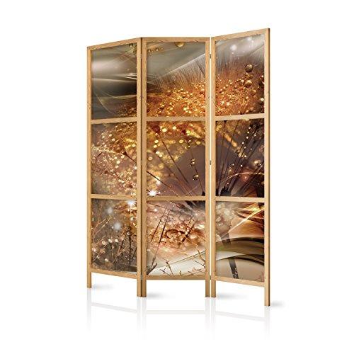 murando - Paravent Pusteblume Abstrakt 135x171 cm - 3-teilig - einseitig - eleganter Sichtschutz - Raumteiler - Trennwand - Raumtrenner - Holz - Design Motiv - Deko - Japan b-A-0360-z-b