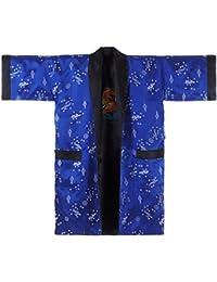 Princess of Asia Japanischer Wende-Kimono Satin Morgenmantel für Damen & Herren mit Drachen-Stickerei