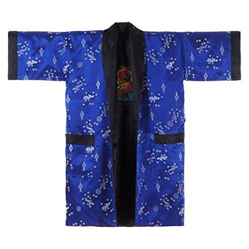 Princess of Asia Japanischer Wende-Kimono Satin Morgenmantel für Damen & Herren mit Drachen-Stickerei ()