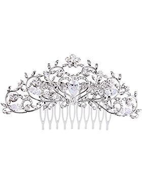 EVER FAITH® österreichischen Kristall Diadem Form Haarkamm Silber-Ton N07988-1