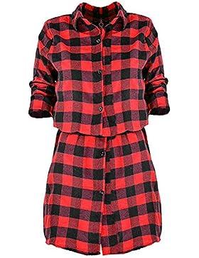 Donna Vestito con camicia a quadri abiti plaid- Highdas Abiti a maniche lunghe Camicie a strisce Vestito plaid...