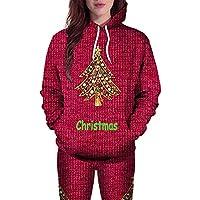☺Sweatshirts Hoodies Damen Oberteil Hemd Pullover Locker Sport Freizeit Premium Kleidung mit Kapuzen 3D Weihnachtsbaum Brief Print Kapuzenpullover Langarmshirt Bluse mit Taschen Frauen Pulli Tops