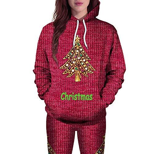durchsichtige wei e bluse Geili Weihnachten Pullover Damen Weihnachtsbaum 3D Druck Hoodie Langarm mit Kapuze Sweatshirt Frauen Christmas Xmas Große Größe Kapuzenpullover Bluse Tops Festlich Oberbekleidung