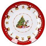 Van Well Gebäckteller Weihnachtszauber Ø 26,5 cm, Porzellan Plätzchenteller, Servierteller für Kekse, Lebkuchen und Gebäck, Weihnachtsmotiv