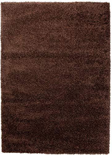 Tapiso himalaya tappeto a pelo lungo camera salotto soggiorno moderno marrone tinta unita morbido 60 x 100 cm