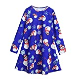dressing up costumes kids christmas mother daughter swing dress girls Hirolan christmas decorations sale clearance christmas pattern cotton long sleeve dress party outfit (Blue, 110CM)