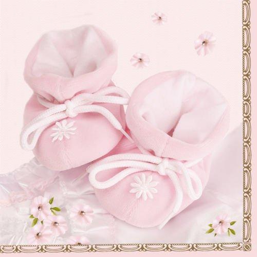 20 Stück Servietten Taufe Geburt Schühchen Mädchen Tischdekoration rosa