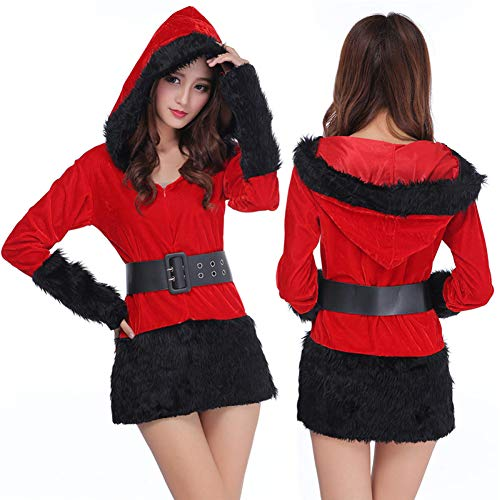 CHRISTMAD Gift Weihnachten Weiß/Schwarz Weihnachtsmann Damen, Weihnachtsmann-Kostüm, Freundin, Einheitsgröße, S-XL,A-OneSize