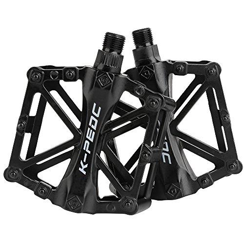 SPFAS Fahrrad Pedal Aluminium Bike Pedale Cycling/Road Mountain MTB/BMX Bike Pedal mit Super Lager Pedale Licht Stable Plat mit Anti Rutschpedal für 9/16 Zoll (5 Farbe) -
