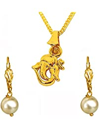 Surat Diamonds Lord Ganesh Gold Plated Religious Pendant And White Shell Pearl Floral Wire Earring Set For Women...