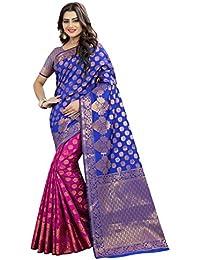 Tagline Women's Cotton Silk Saree (TAGA01104RED_BLACK)