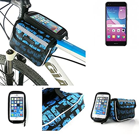 Bike frame bag Front Top Tube Pannier for Huawei Y6 Pro 2017 Dual SIM, Head Tube cycling triple case Bicycle mount cradle Mobile Phone Holder, blue, water resistant -