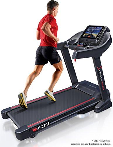 Cinta de correr profesional F37 de Sportstech hasta 20 km/h, sistema autolubricante, aplicación deportiva para smartphone, inclinación del 15%, Bluetooth USB MP3, amplia cinta de correr con sistema de amortiguación para hasta 130 kg - plegable y fácil de guardar